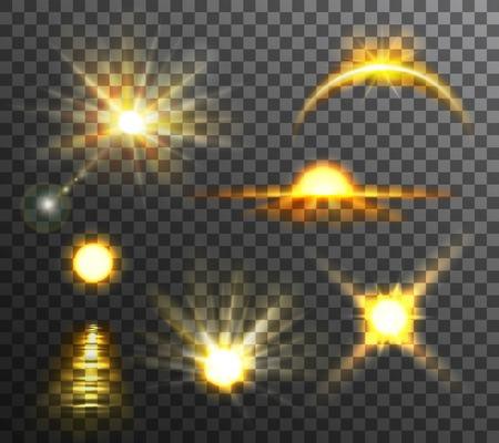 insignias: amanecer y el atardecer de color amarillo brillante en conjunto transparente escocés de fondo ilustración vectorial plana Vectores