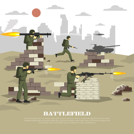 Military army war computer video game battlefield shooter personal cinematic experience flat poster print abstract vector illustration Illustration