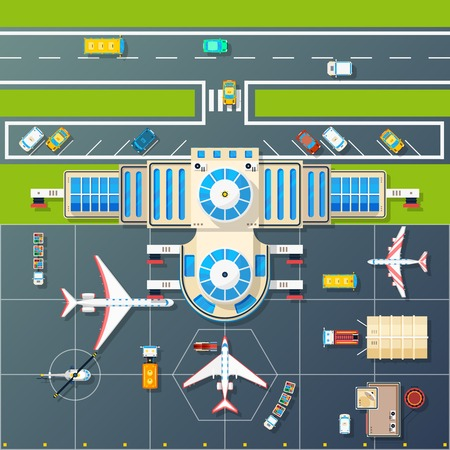 areas: Airport building and parking airfield area for planes and helicopter with motorway top view abstract vector illustration