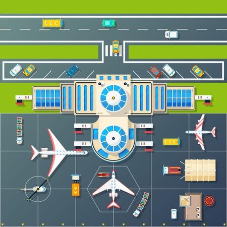 edificio del aeropuerto y zona de aparcamiento pista de aterrizaje para aviones y helicópteros con vista superior de la autopista ilustración vectorial abstracto