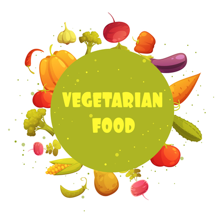 educative: Vegetarian food diet round green circle fresh vegetables composition cartoon retro style icon poster abstract vector illustration