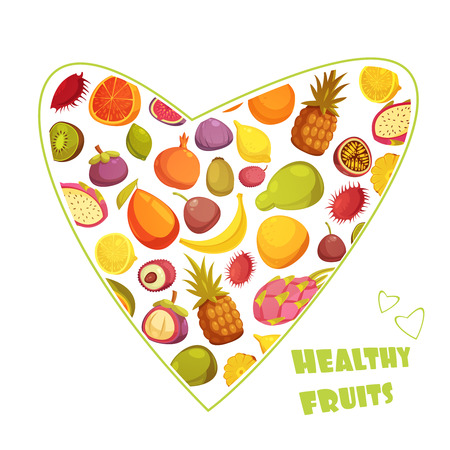 pear shaped: Healthy fruits diet advertisement poster with hart shaped assortment of pear banana grapefruit and pineapple abstract vector illustration Illustration