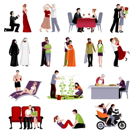 spending: Couples people of different age and nationalities spending time together in various places flat set on white background isolated vector illustration Illustration