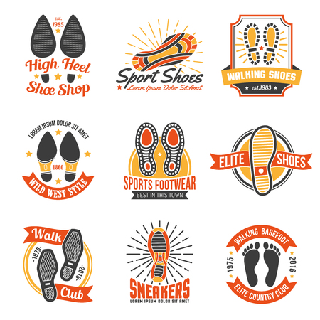 suppliers: Footwear stores and suppliers labels and emblems with soles insoles and shoes footprints icons set isolated vector illustration