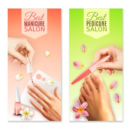 Vertical best pedicure and manicure salon banners in pastel colors with female hands feet and beauty tools isolated on white background realistic vector illustration