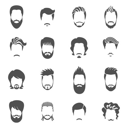 Set of black icons hairstyle man with beard and mustache wiyhout face vector illustration