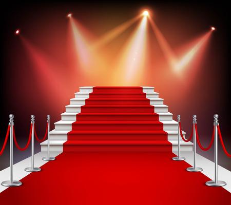 Bílé schody pokryté červeným kobercem a osvětlené reflektorem realistické vektorové ilustrace