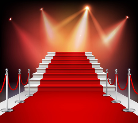 White stairs covered with red carpet and illuminated by spotlight realistic vector illustration