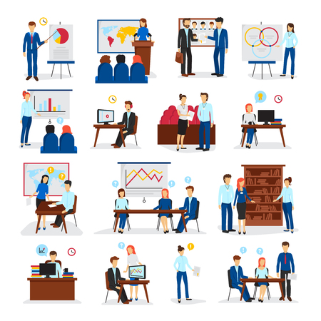 training programs: Business training and consulting programs for general management strategy and innovations flat icons collection isolated vector illustration Illustration