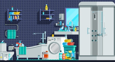 toiletry: Hygiene icons orthogonal flat composition with shower cabin bath sink washing machine toiletries vector illustration