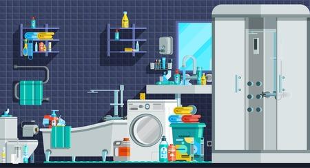 cabine de douche: ic�nes d'hygi�ne orthogonal composition plat avec bain de cabine de douche lavabo lave-linge de toilette illustration vectorielle Illustration