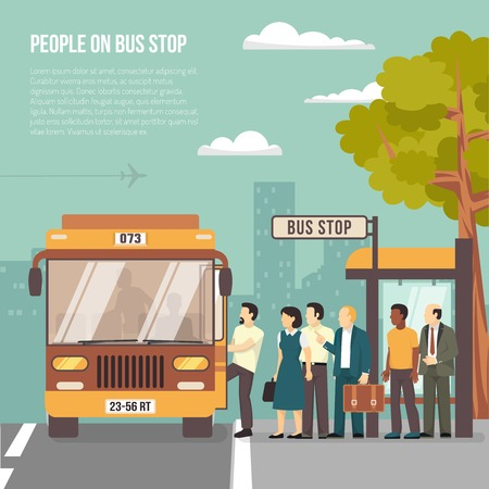 Las personas consiguen en el autobús en la parada de refugio en plano del cartel ciudad con información sobre ilustración vectorial de transporte Ilustración de vector