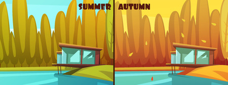 late autumn: Nature parks outdoor 2 seasons retro cartoon style pictures for summer and autumn icons isolated vector illustration