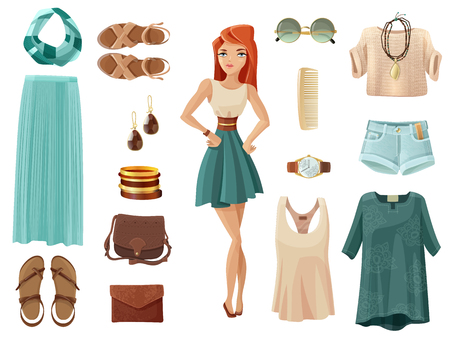 Fashion woman set of summer clothes shoes and accessory in pastel colors with girl in middle on white background cartoon isolated vector illustration Illustration
