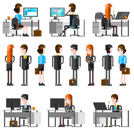 empleados trabajando: Gente de la oficina iconos planos de dibujos animados conjunto de empleados jóvenes que trabajan en el escritorio con monitor de PC y hablar con socios de negocios aislados ilustración vectorial
