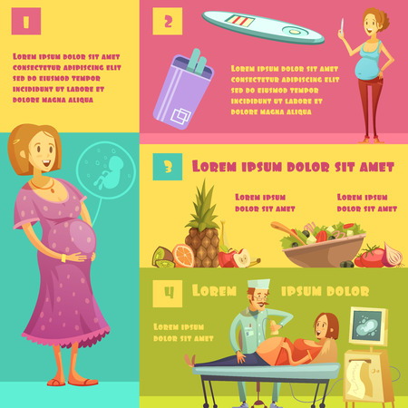 advise: Information on pregnancy stages with test strip kit food advise and ultrasound scan infographic poster vector illustration