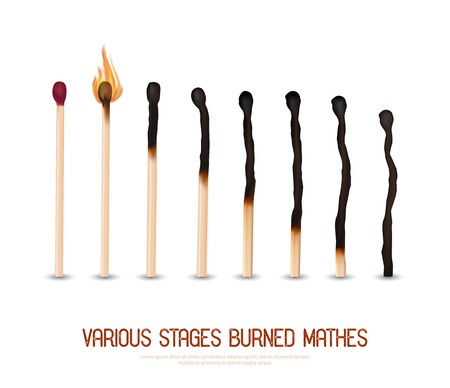 ignited: Various stages of matches burning from new to completely burned set isolated on white background realistic vector illustration
