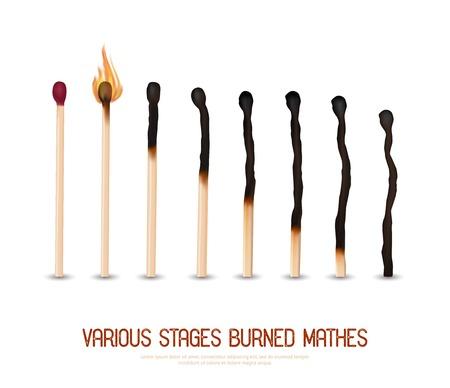 Verschillende stadia van brandende lucifers van nieuw naar volledig verbrand set op een witte achtergrond realistische vector illustratie Stockfoto - 60299454