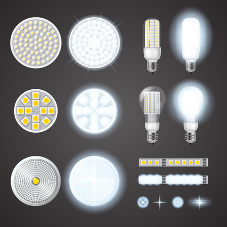 turned: Turned on and off led lamps and lights effects of different size and shape set on black background isolated realistic vector illustration