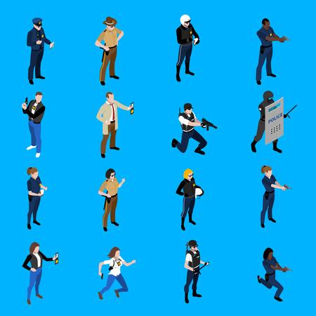 policewoman: Conjunto de iconos que representan isométricas policía y la policía con diferentes ilustración vectorial patrullero detective sheriff uniforme Vectores
