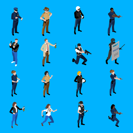 policewoman: Set of isometric icons depicting policeman and policewoman with different uniform detective sheriff patrolman vector illustration Illustration