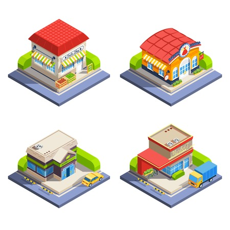 shop assistant: One-storeyed shop buildings offering various goods set on white background isometric isolated vector illustration