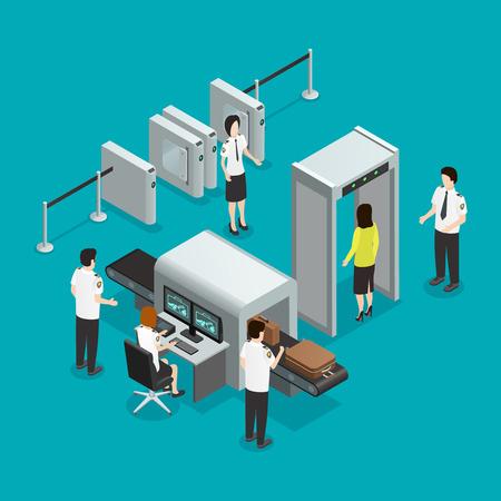 Aeropuerto puertas de seguridad Comprobación de seguridad composición isométrica con la inspección de equipaje de mano y el control de los pasajeros Ilustración de vector