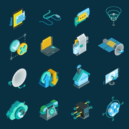 optical fiber: Telecommunication isometric icons set with satellite dish  data hub optical fiber receiver isolated elements vector illustration