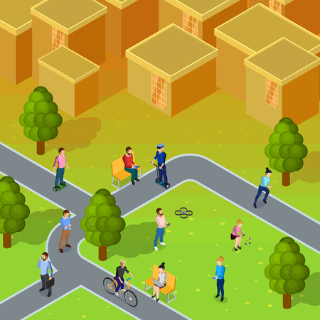 societies: City society composition depicting walking and working people in city near blocks of flats isometric vector illustration Illustration