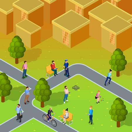 sociedade: composição da sociedade da cidade que descreve a pé e as pessoas que trabalham na cidade perto de blocos de apartamentos ilustração do vetor isométrico