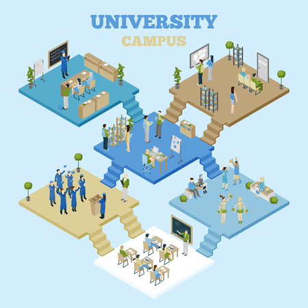 University campus isometric illustration with classrooms and students having classes on light blue background vector illustration Illustration
