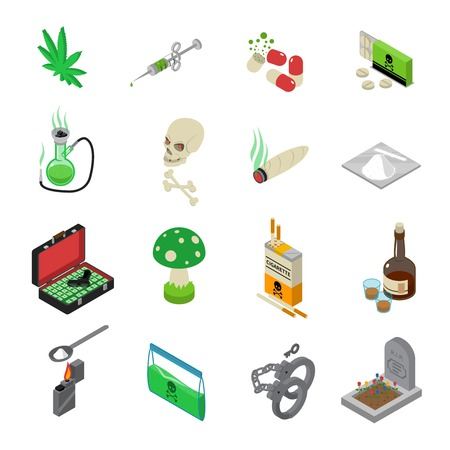 drug dealer: Drugs icons set with drugs alcohol and tobacco symbols isometric isolated vector illustration