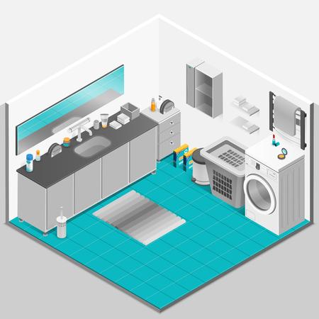 powder room: Bathroom interior isometric design with washing machine and mirror vector illustration Illustration