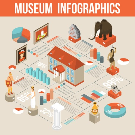 finds: Cultural history museum exposition isometric infographic flowchart poster with visitors and archaeological finds statistics abstract vector illustration Illustration