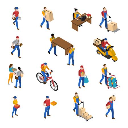 La logistica e le icone isometriche della consegna hanno messo con l'illustrazione di vettore isolata simboli del magazzino Archivio Fotografico - 60299480