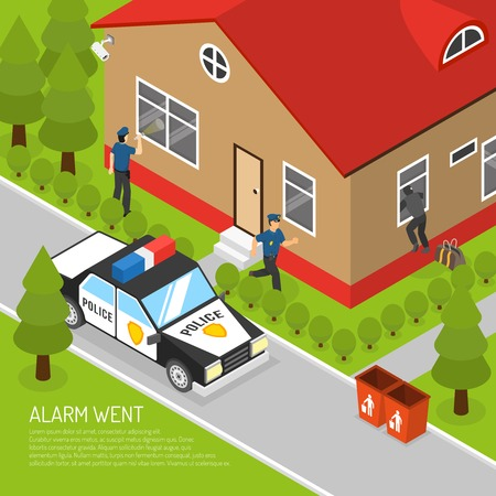burglar alarm: Action security system burglar alarm response isometric placard with running police officer approaching thief abstract vector llustration