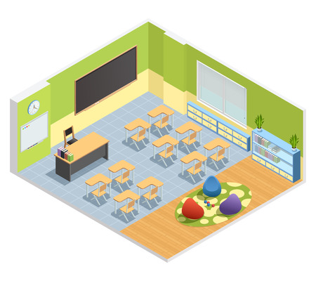 Isometric poster of classroom with chalkboard table for teacher students desks and special zone with playground vector illustration