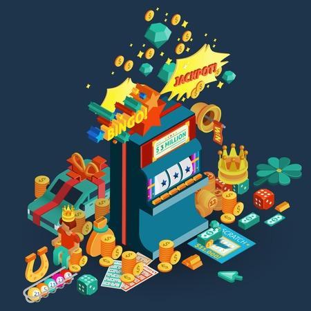 Loterij en gokautomaat isometrische samenstelling met jackpot en bingo beschrijving en accessoires voor tafelspelen vector illustratie