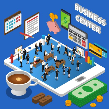 tableau: Financial business center isometric composition poster with market participants and dollar exchange rate diagrams abstract vector illustration