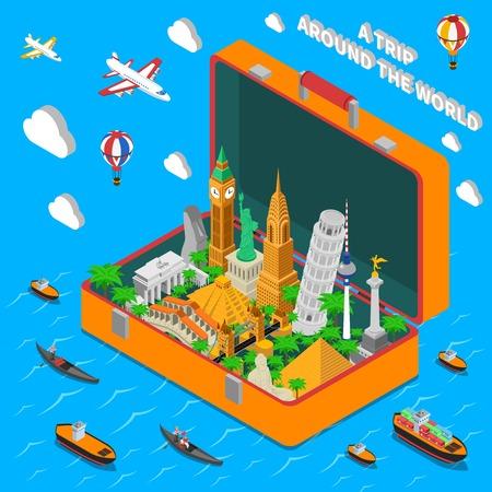 puntos de referencia de fama mundial en la maleta de viaje de la vendimia isométrica cartel de publicidad con los medios de ilustración vectorial resumen de transporte