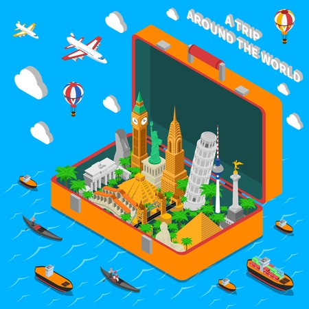 World famous landmarks in vintage travel suitcase isometric  advertisement poster with means of transportation abstract vector illustration Illustration