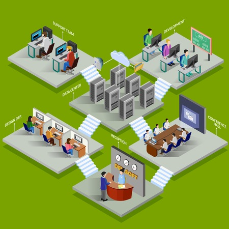 support center: Development office isometric design concept with reception data center conference hall support service elements flat vector illustration
