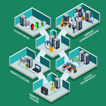 Datacenter isometric concept with server configuration remote access equipment and cloud drives 3d elements flat vector illustration Illustration