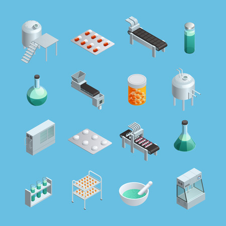 pharmaceutical industry: Isometric icons set of different pharmaceutical production elements from equipments to end-product isolated vector illustrations Illustration