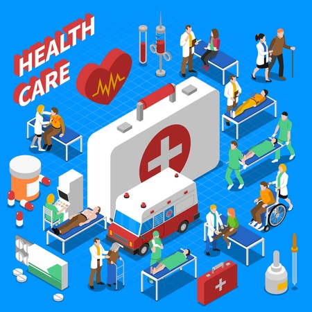 health care: Doctor patient communication with ambulance medical kit and stretcher health care isometric composition poster abstract vector illustration