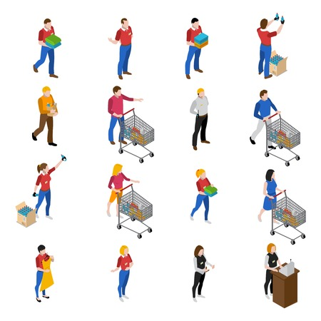 buy sell: Supermarket isometric icons set with people and food isolated vector illustration