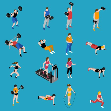 Gym and training isometric icons set on blue background isolated vector illustration Illustration