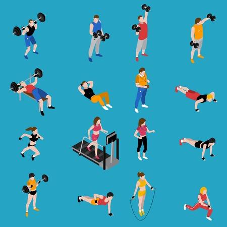 Gym and training isometric icons set on blue background isolated vector illustration Illustration