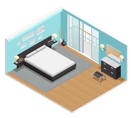 Interior del dormitorio vista isométrica con cama tamaño king mesita de noche y la alfombra deslizante puertas del balcón resumen ilustración vectorial