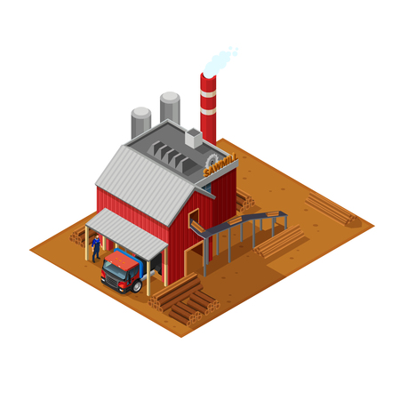 sawn: Lumberjack isometric concept with sawmill house timber truck sawn wood and driver monitoring unloading flat vector illustration